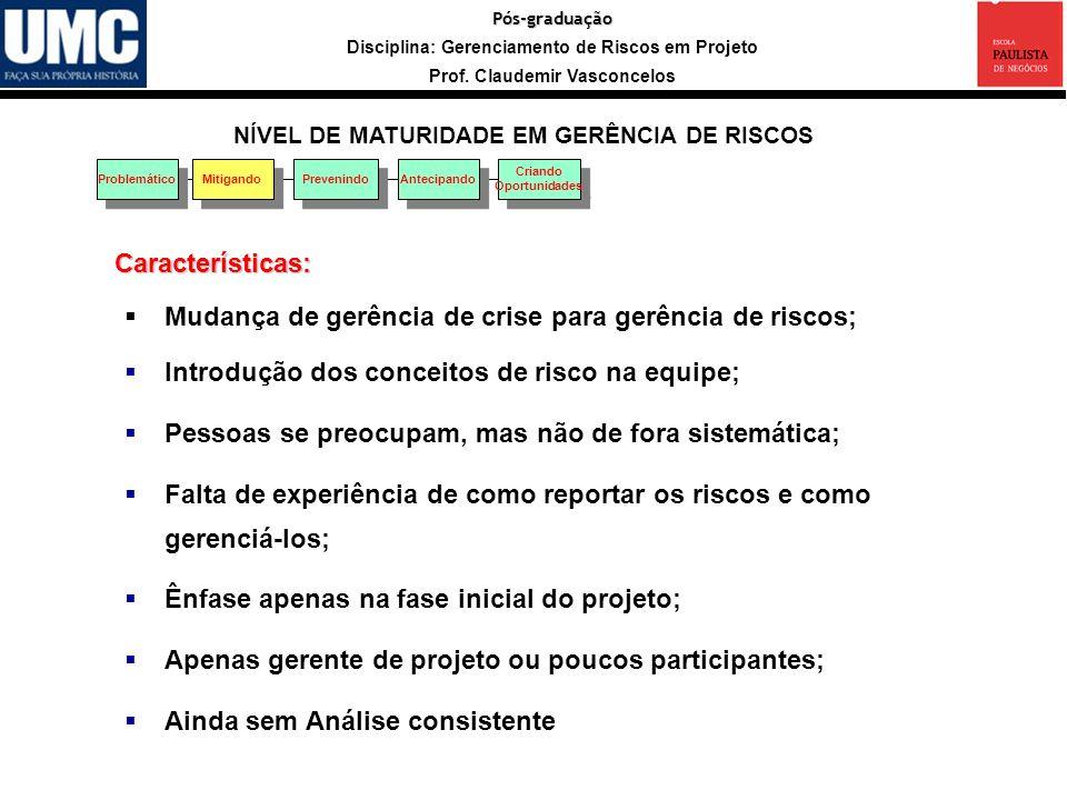 Pós-graduação Disciplina: Gerenciamento de Riscos em Projeto Prof.