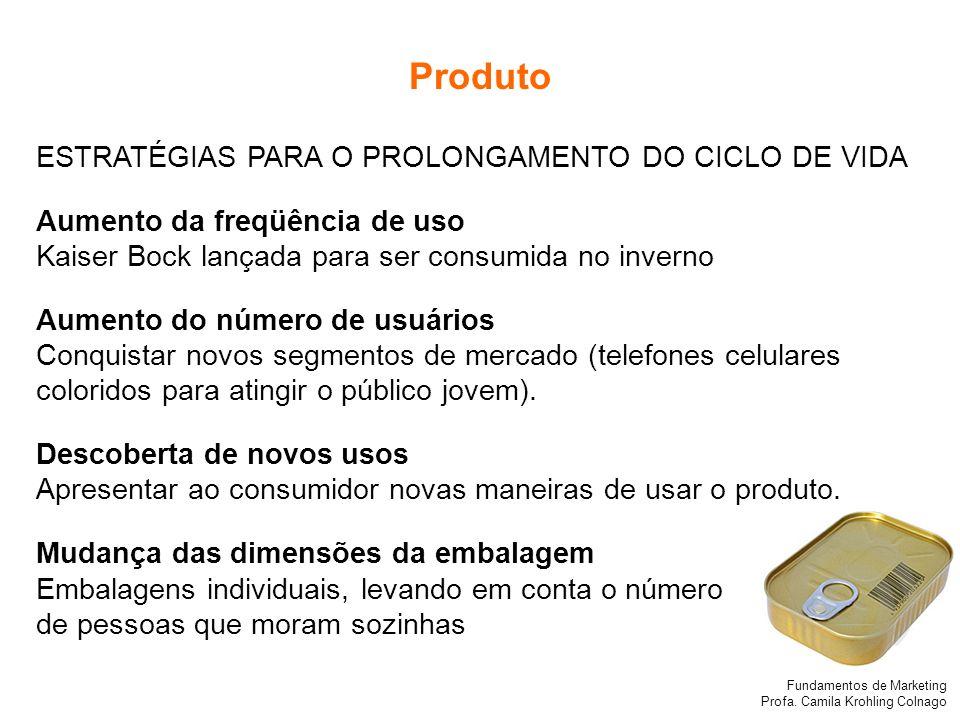 Fundamentos de Marketing Profa. Camila Krohling Colnago Produto ESTRATÉGIAS PARA O PROLONGAMENTO DO CICLO DE VIDA Aumento da freqüência de uso Kaiser