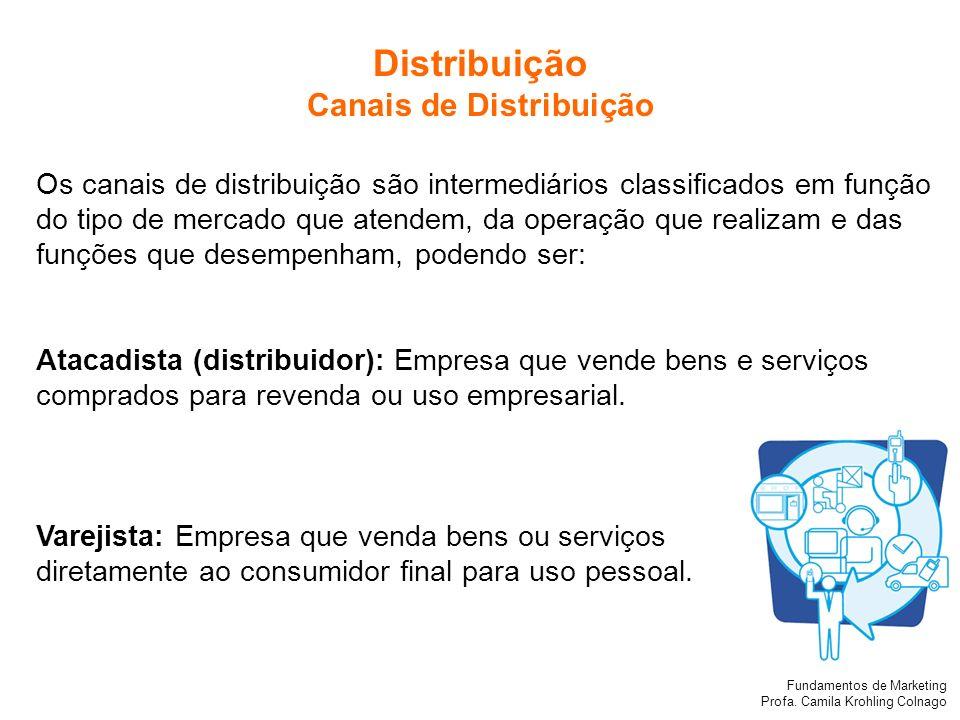 Fundamentos de Marketing Profa. Camila Krohling Colnago Os canais de distribuição são intermediários classificados em função do tipo de mercado que at