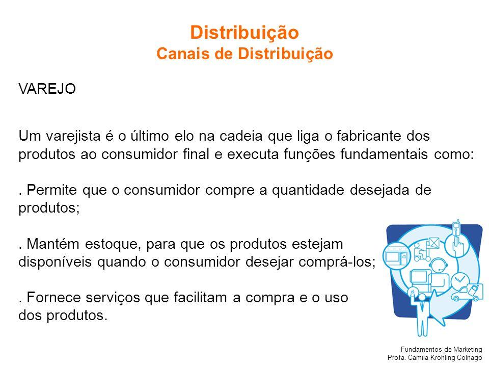 Fundamentos de Marketing Profa. Camila Krohling Colnago VAREJO Um varejista é o último elo na cadeia que liga o fabricante dos produtos ao consumidor