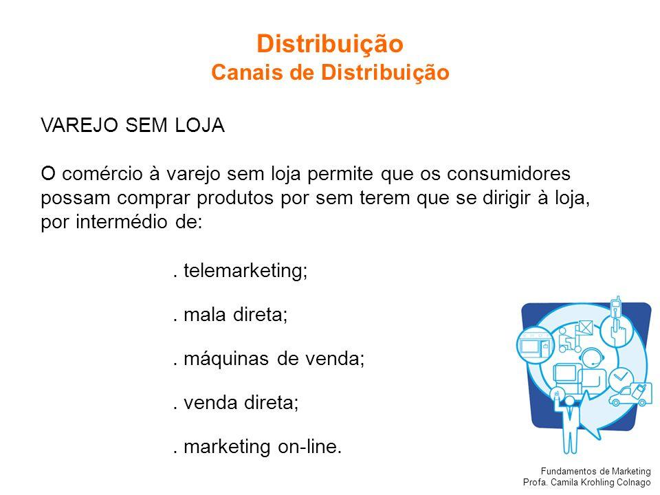 Fundamentos de Marketing Profa. Camila Krohling Colnago VAREJO SEM LOJA O comércio à varejo sem loja permite que os consumidores possam comprar produt