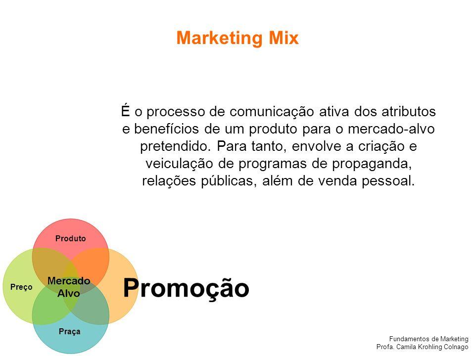 Fundamentos de Marketing Profa. Camila Krohling Colnago Produto Preço Promoção Praça É o processo de comunicação ativa dos atributos e benefícios de u