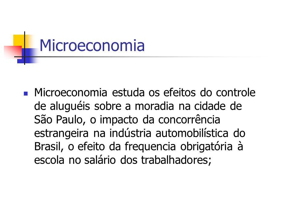 Microeconomia Microeconomia estuda os efeitos do controle de aluguéis sobre a moradia na cidade de São Paulo, o impacto da concorrência estrangeira na