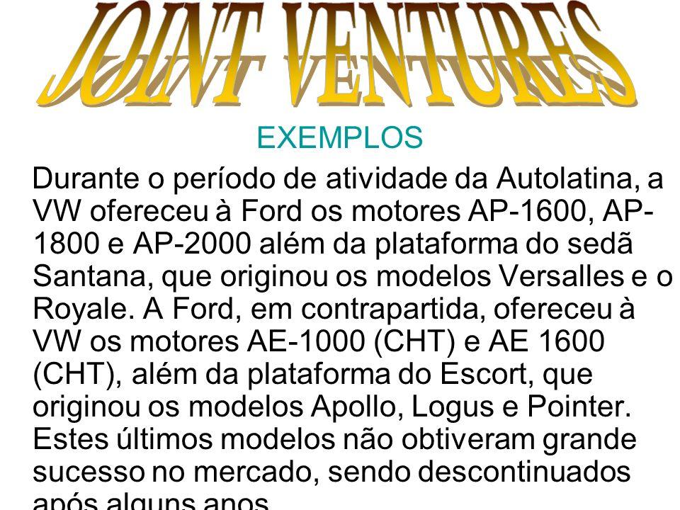 EXEMPLOS Durante o período de atividade da Autolatina, a VW ofereceu à Ford os motores AP-1600, AP- 1800 e AP-2000 além da plataforma do sedã Santana,