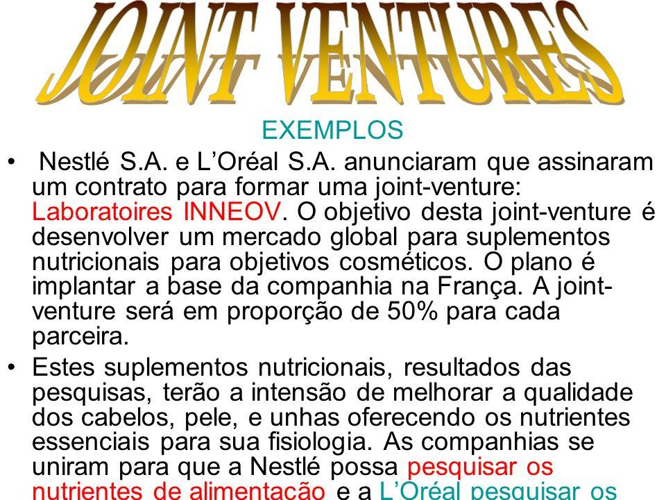 EXEMPLOS Nestlé S.A. e LOréal S.A. anunciaram que assinaram um contrato para formar uma joint-venture: Laboratoires INNEOV. O objetivo desta joint-ven