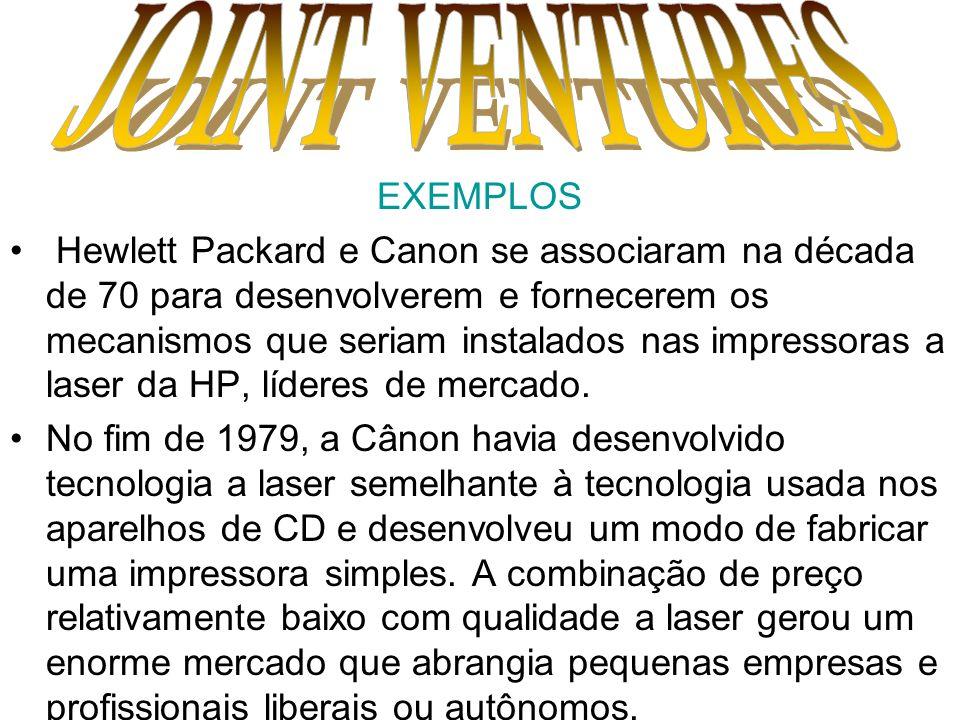 EXEMPLOS Hewlett Packard e Canon se associaram na década de 70 para desenvolverem e fornecerem os mecanismos que seriam instalados nas impressoras a l