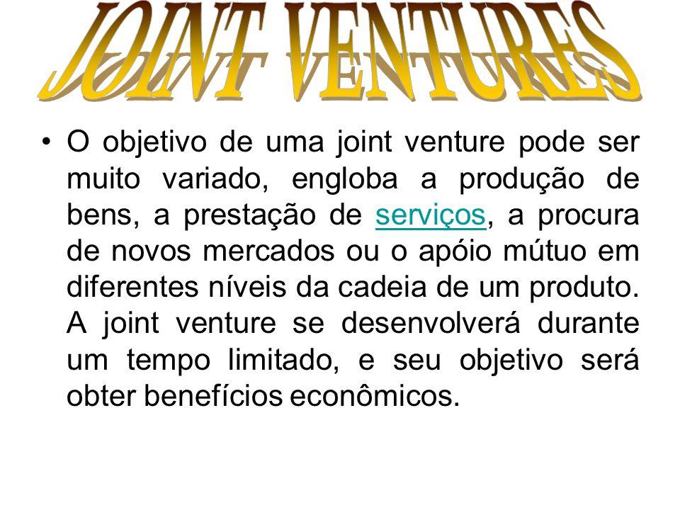 O objetivo de uma joint venture pode ser muito variado, engloba a produção de bens, a prestação de serviços, a procura de novos mercados ou o apóio mú