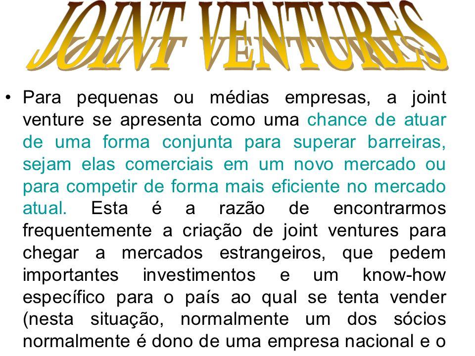 Para pequenas ou médias empresas, a joint venture se apresenta como uma chance de atuar de uma forma conjunta para superar barreiras, sejam elas comer