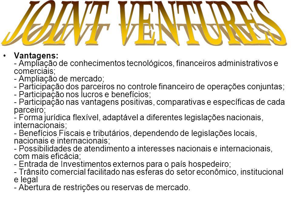 Vantagens: - Ampliação de conhecimentos tecnológicos, financeiros administrativos e comerciais; - Ampliação de mercado; - Participação dos parceiros n