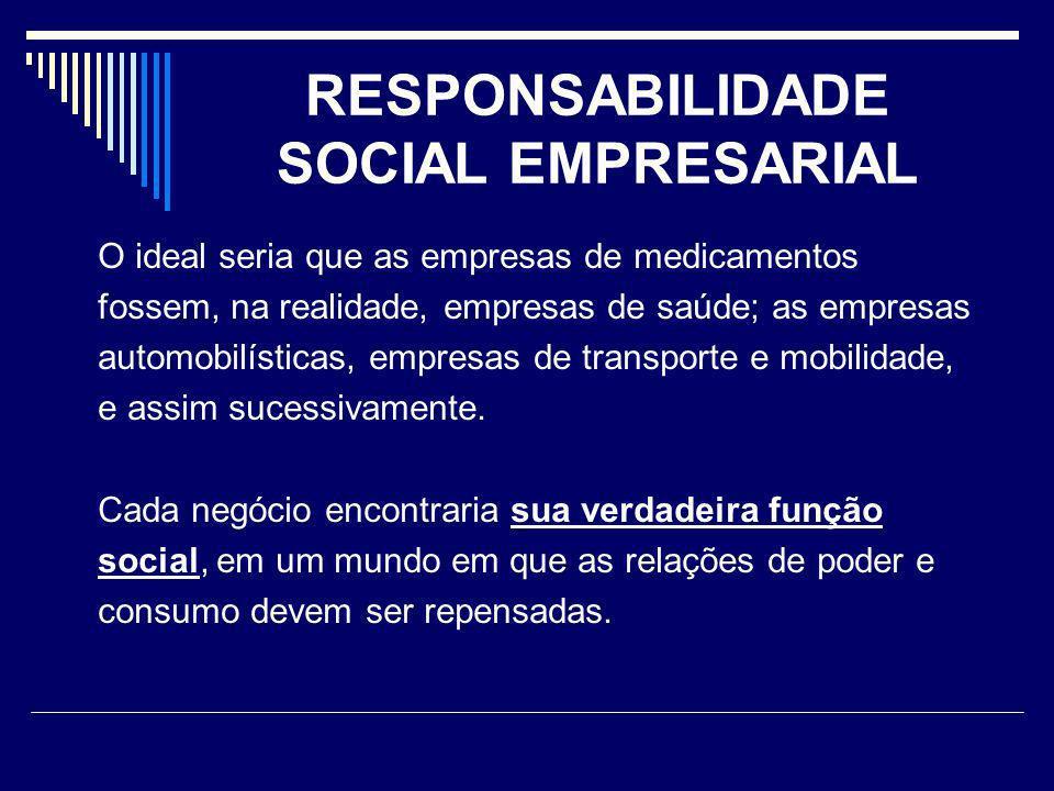 RESPONSABILIDADE SOCIAL EMPRESARIAL O ideal seria que as empresas de medicamentos fossem, na realidade, empresas de saúde; as empresas automobilística