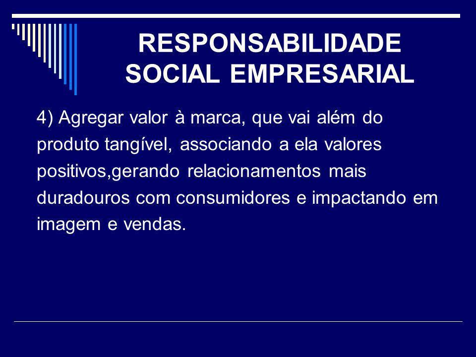 RESPONSABILIDADE SOCIAL EMPRESARIAL 4) Agregar valor à marca, que vai além do produto tangível, associando a ela valores positivos,gerando relacioname