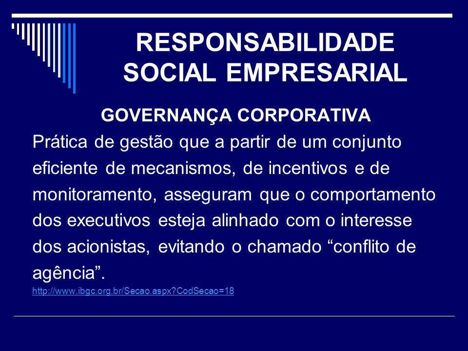 RESPONSABILIDADE SOCIAL EMPRESARIAL GOVERNANÇA CORPORATIVA Prática de gestão que a partir de um conjunto eficiente de mecanismos, de incentivos e de m