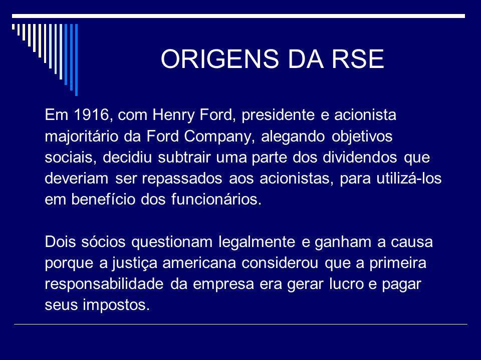 ORIGENS DA RSE Em 1916, com Henry Ford, presidente e acionista majoritário da Ford Company, alegando objetivos sociais, decidiu subtrair uma parte dos