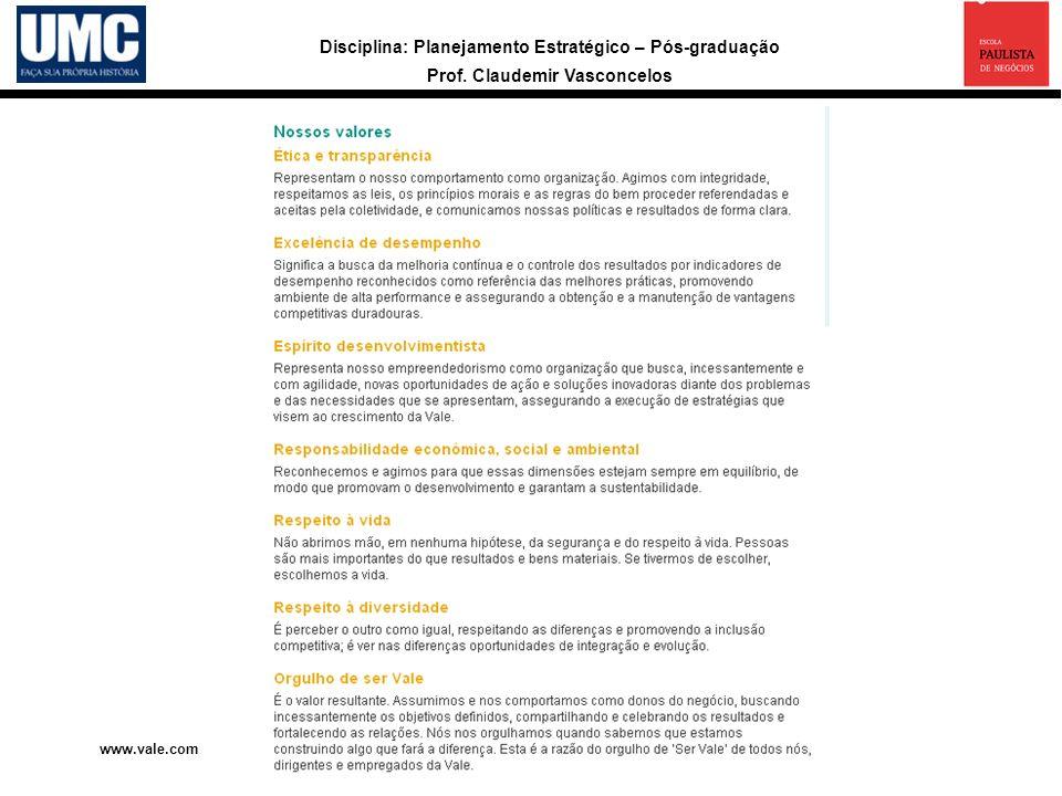 Disciplina: Planejamento Estratégico – Pós-graduação Prof. Claudemir Vasconcelos www.vale.com