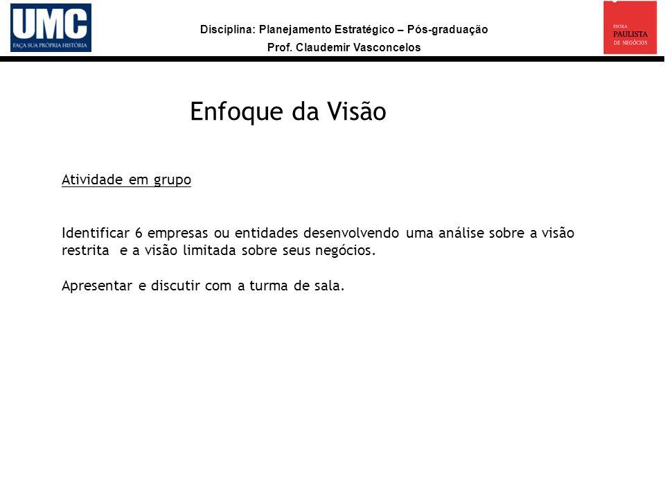 Disciplina: Planejamento Estratégico – Pós-graduação Prof. Claudemir Vasconcelos Peter Drucker