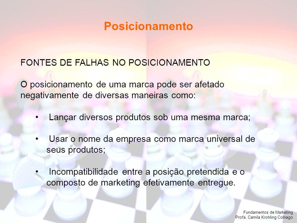 Fundamentos de Marketing Profa. Camila Krohling Colnago FONTES DE FALHAS NO POSICIONAMENTO O posicionamento de uma marca pode ser afetado negativament