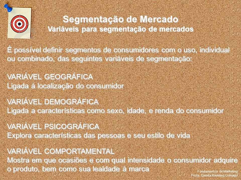 Fundamentos de Marketing Profa. Camila Krohling Colnago Segmentação de Mercado Variáveis para segmentação de mercados Fundamentos de Marketing Profa.