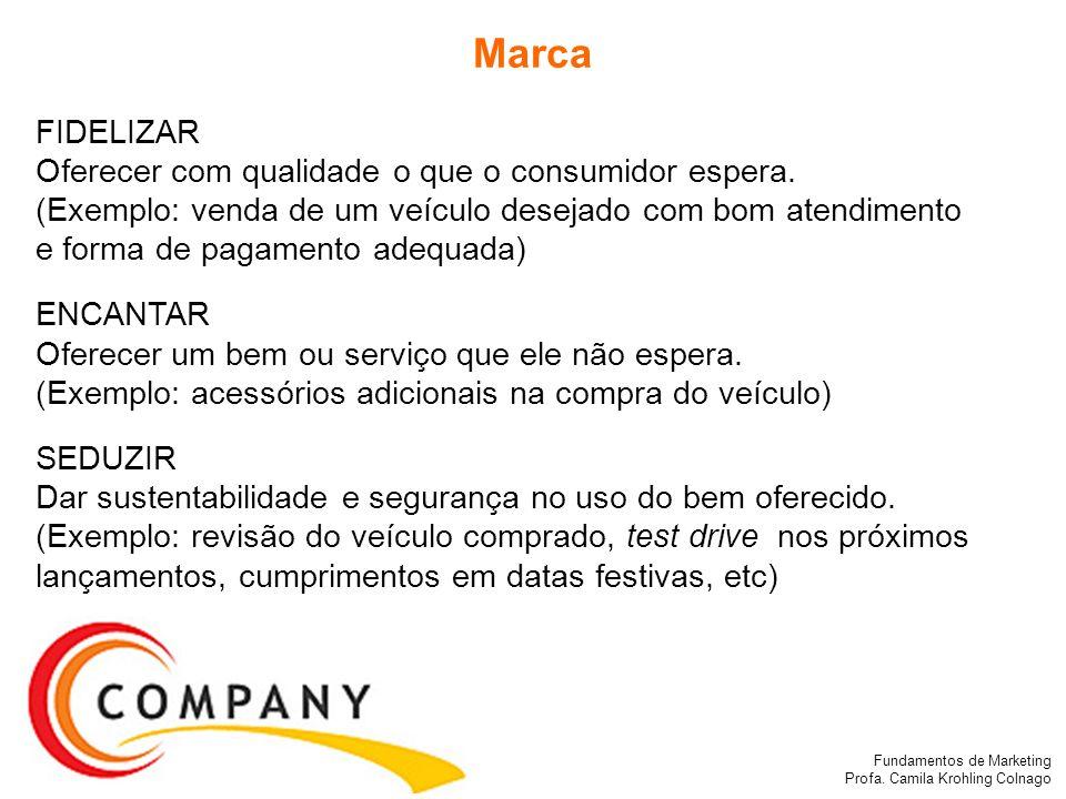 Fundamentos de Marketing Profa. Camila Krohling Colnago FIDELIZAR Oferecer com qualidade o que o consumidor espera. (Exemplo: venda de um veículo dese