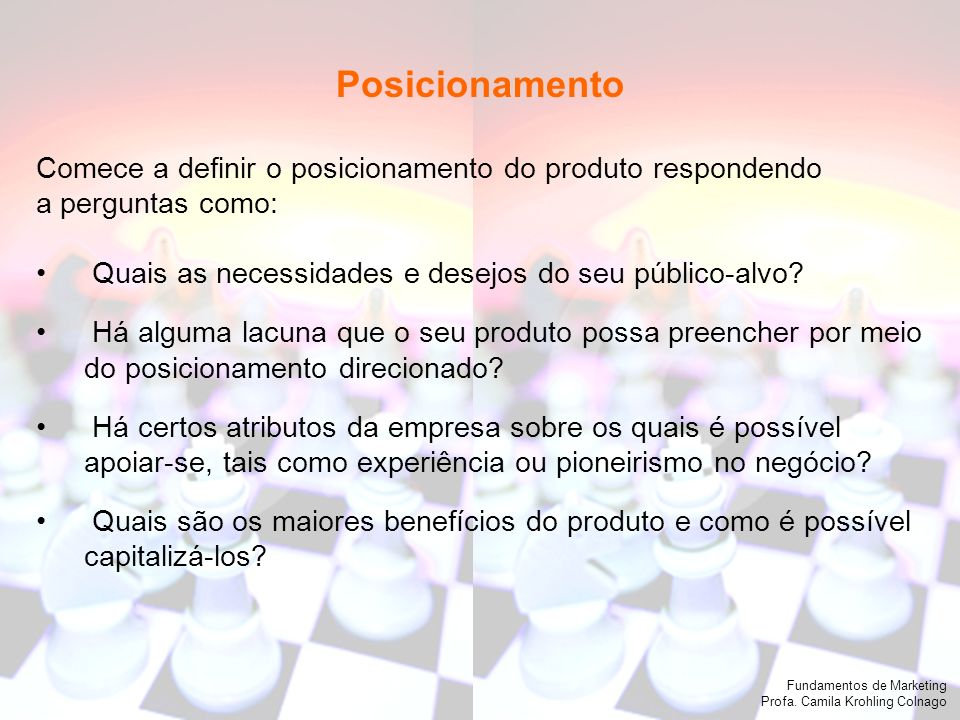 Fundamentos de Marketing Profa.Camila Krohling Colnago 2.