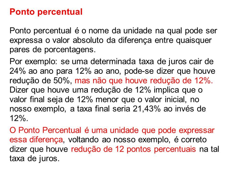 Ponto percentual Ponto percentual é o nome da unidade na qual pode ser expressa o valor absoluto da diferença entre quaisquer pares de porcentagens. P
