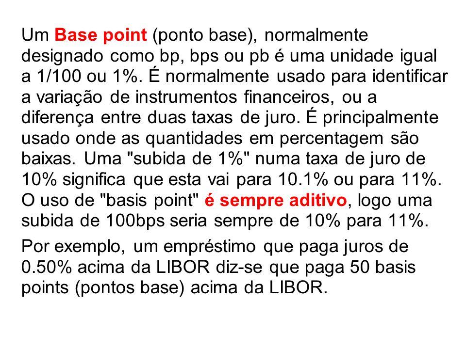 Um Base point (ponto base), normalmente designado como bp, bps ou pb é uma unidade igual a 1/100 ou 1%. É normalmente usado para identificar a variaçã
