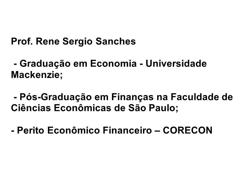 Prof. Rene Sergio Sanches - Graduação em Economia - Universidade Mackenzie; - Pós-Graduação em Finanças na Faculdade de Ciências Econômicas de São Pau