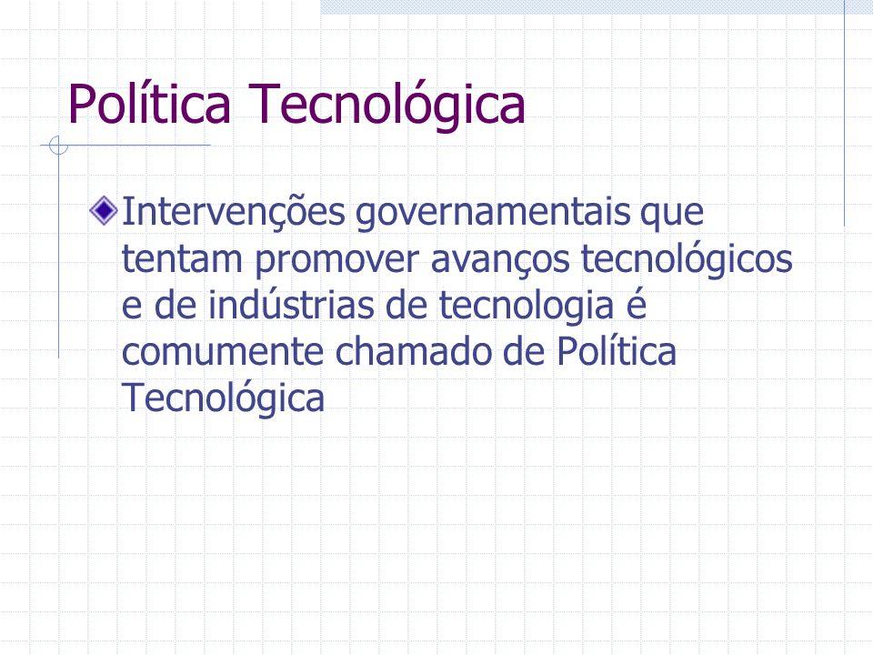 Política Tecnológica Intervenções governamentais que tentam promover avanços tecnológicos e de indústrias de tecnologia é comumente chamado de Polític