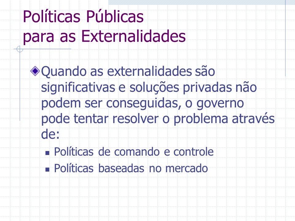 Políticas Públicas para as Externalidades Quando as externalidades são significativas e soluções privadas não podem ser conseguidas, o governo pode te