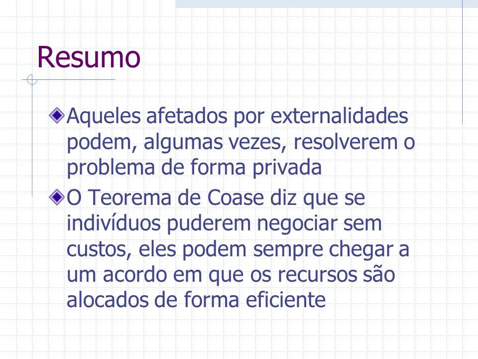 Resumo Aqueles afetados por externalidades podem, algumas vezes, resolverem o problema de forma privada O Teorema de Coase diz que se indivíduos puder