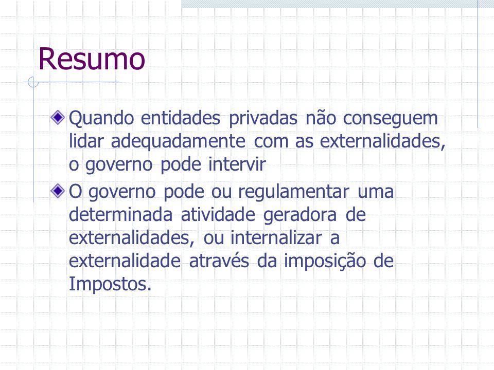 Resumo Quando entidades privadas não conseguem lidar adequadamente com as externalidades, o governo pode intervir O governo pode ou regulamentar uma d