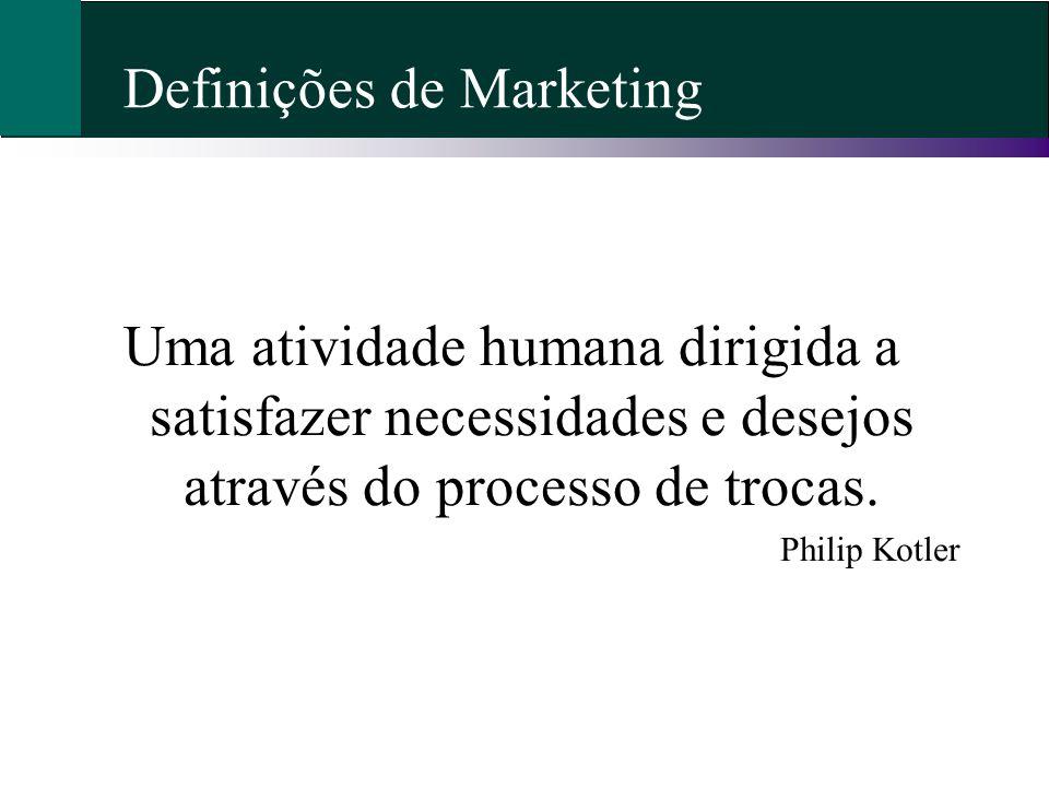Definições de Marketing Uma atividade humana dirigida a satisfazer necessidades e desejos através do processo de trocas. Philip Kotler
