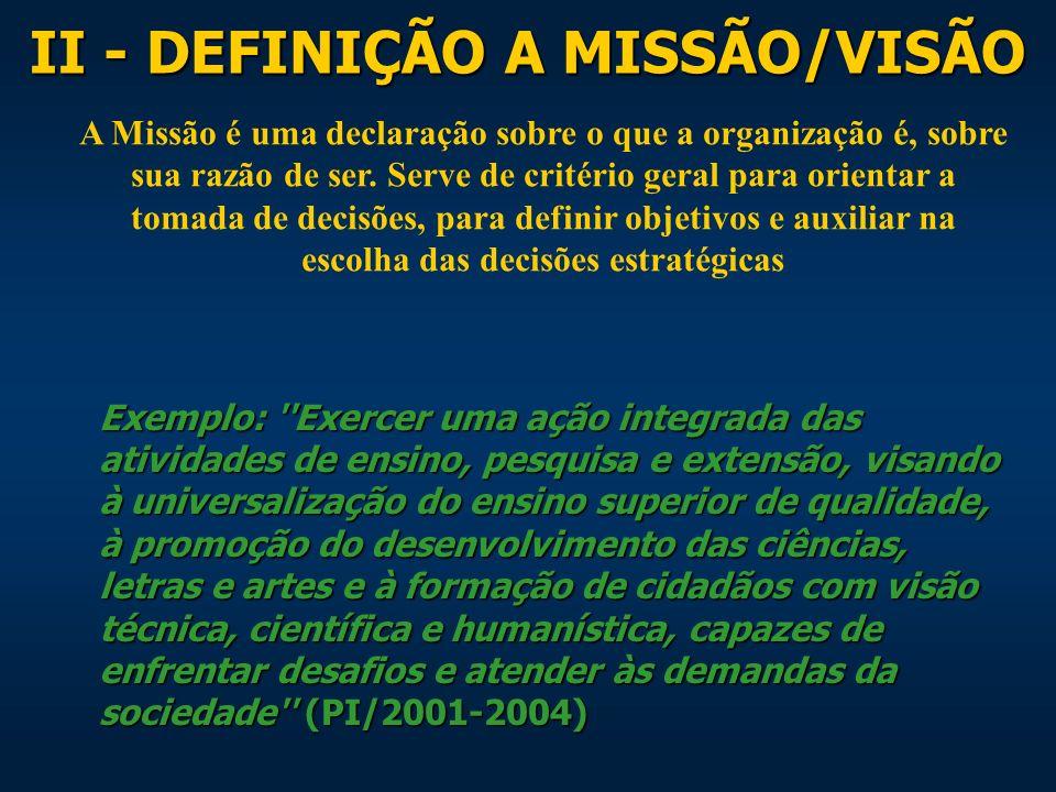 I - DEFINIÇÃO DOS VALORES São idéias fundamentais em torno das quais a organização foi construída.
