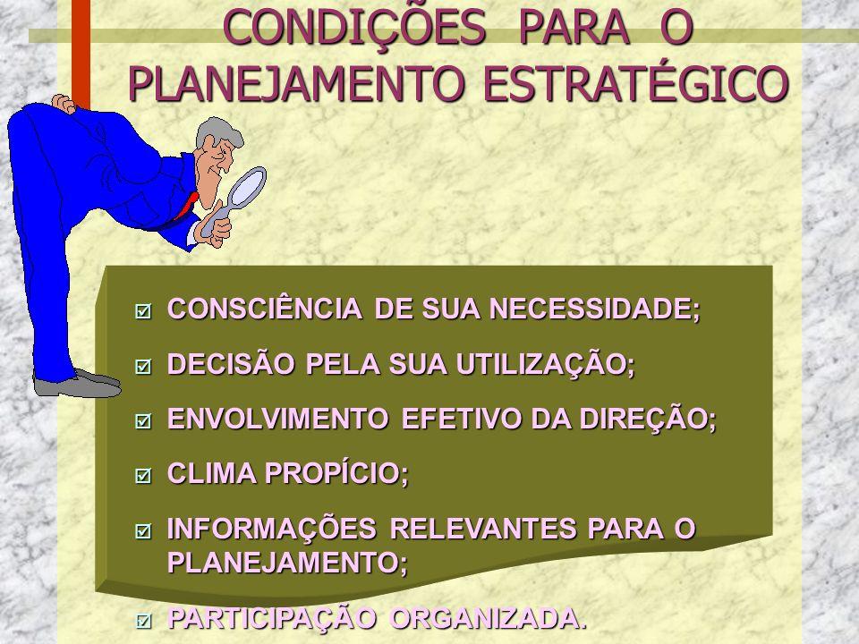 P AGILIZA DECISÕES P MELHORA A COMUNICAÇÃO P AUMENTA A CAPACIDADE GERENCIAL PARA TOMAR DECISÕES P PROMOVE UMA CONSCIÊNCIA COLETIVA P PROPORCIONA UMA VISÃO DE CONJUNTO P MAIOR DELEGAÇÃO P DIREÇÃO ÚNICA PARA TODOS P ORIENTA PROGRAMAS DE QUALIDADE P MELHORA O RELACIONAMENTO DA ORGANIZAÇÃO COM SEU AMBIENTE INTERNO E EXTERNO BENEF Í CIOSDO PLANEJAMENTO ESTRAT É GICO BENEF Í CIOS DO PLANEJAMENTO ESTRAT É GICO