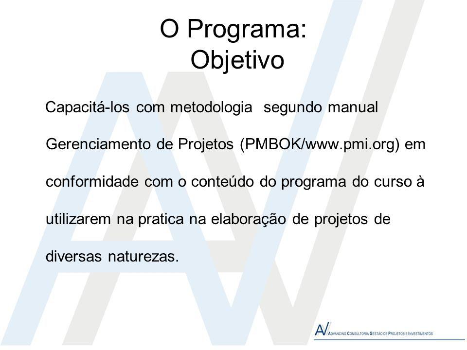 O Programa: Objetivo Capacitá-los com metodologia segundo manual Gerenciamento de Projetos (PMBOK/www.pmi.org) em conformidade com o conteúdo do progr