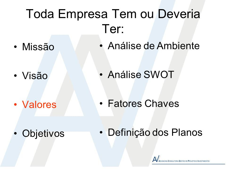 Toda Empresa Tem ou Deveria Ter: Missão Visão Valores Objetivos Análise de Ambiente Análise SWOT Fatores Chaves Definição dos Planos