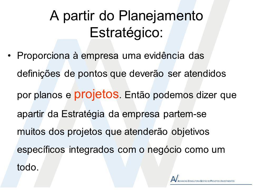 A partir do Planejamento Estratégico: Proporciona à empresa uma evidência das definições de pontos que deverão ser atendidos por planos e projetos. En