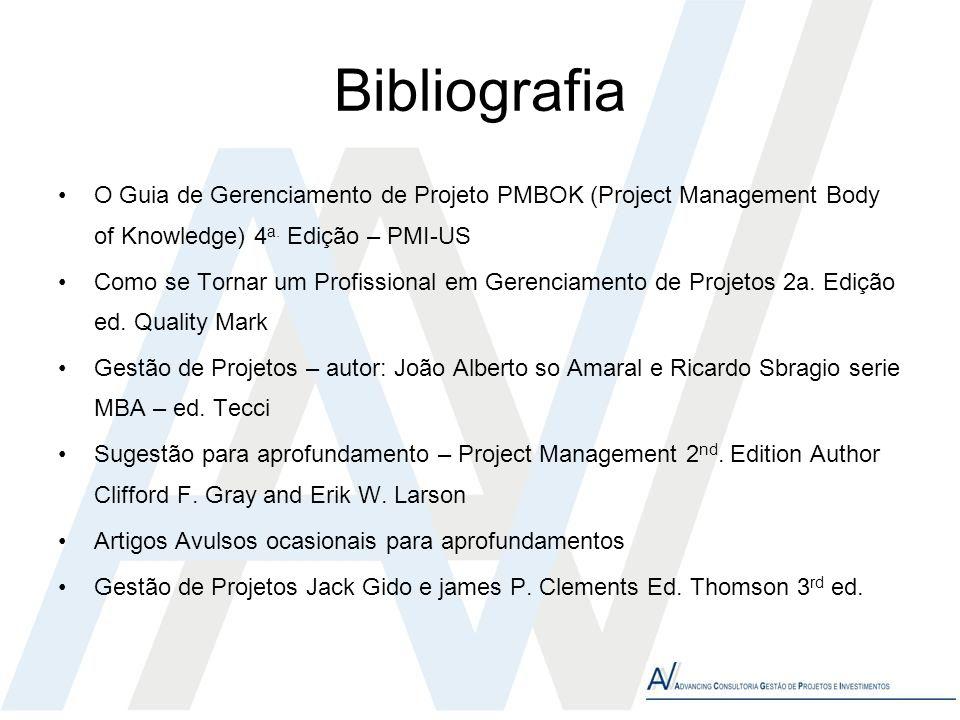 Bibliografia O Guia de Gerenciamento de Projeto PMBOK (Project Management Body of Knowledge) 4 a. Edição – PMI-US Como se Tornar um Profissional em Ge
