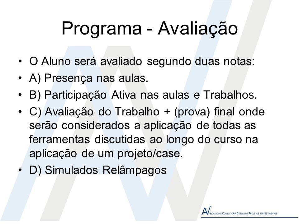 Programa - Avaliação O Aluno será avaliado segundo duas notas: A) Presença nas aulas. B) Participação Ativa nas aulas e Trabalhos. C) Avaliação do Tra