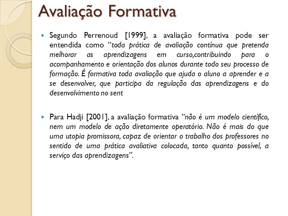 Segundo Perrenoud [1999], a avaliação formativa pode ser entendida como toda prática de avaliação contínua que pretenda melhorar as aprendizagens em c