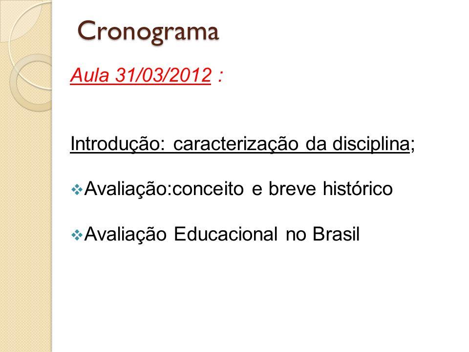 Cronograma Aula 31/03/2012 : Introdução: caracterização da disciplina; Avaliação:conceito e breve histórico Avaliação Educacional no Brasil