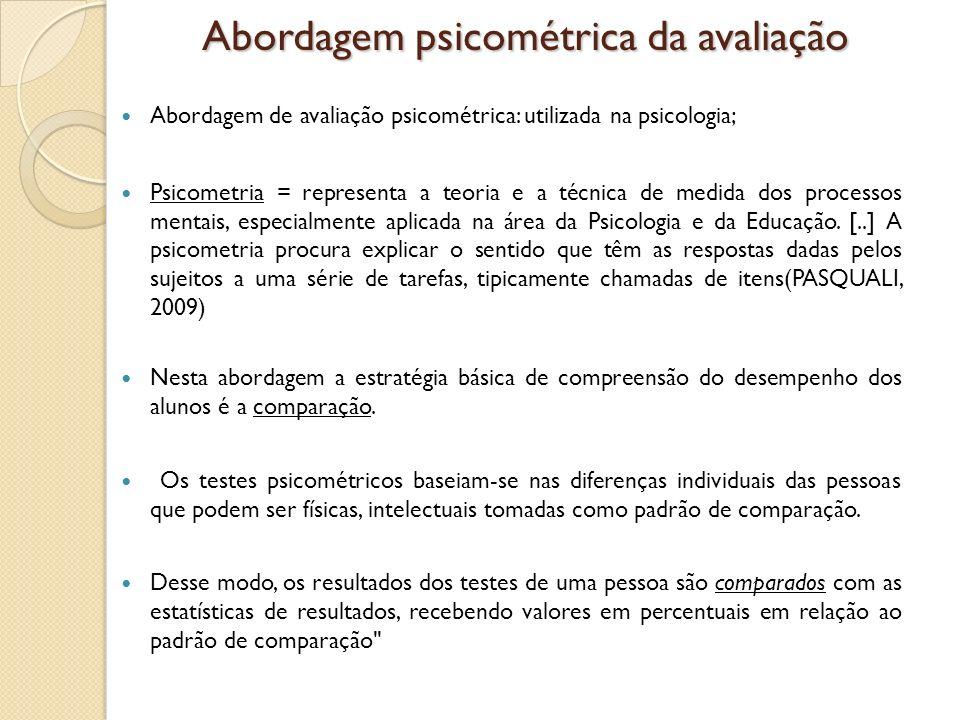 Abordagem psicométrica da avaliação Abordagem de avaliação psicométrica: utilizada na psicologia; Psicometria = representa a teoria e a técnica de med