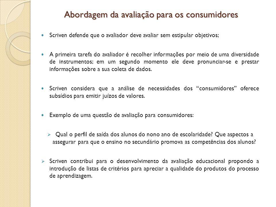 Abordagem da avaliação para os consumidores Scriven defende que o avaliador deve avaliar sem estipular objetivos; A primeira tarefa do avaliador é rec