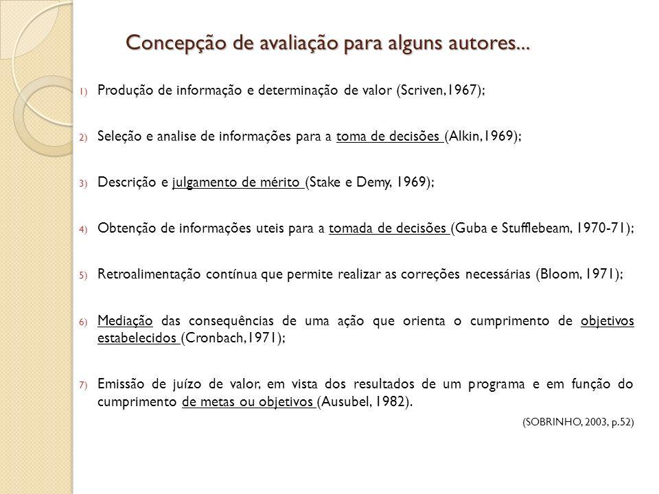 1) Produção de informação e determinação de valor (Scriven,1967); 2) Seleção e analise de informações para a toma de decisões (Alkin,1969); 3) Descriç