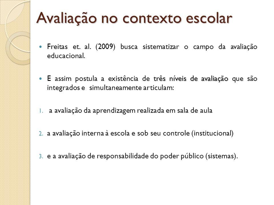 Freitas et. al. (2009) busca sistematizar o campo da avaliação educacional. três níveis de avaliação E assim postula a existência de três níveis de av
