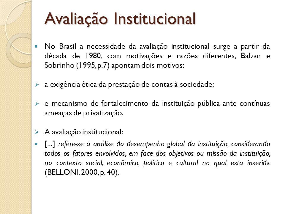 No Brasil a necessidade da avaliação institucional surge a partir da década de 1980, com motivações e razões diferentes, Balzan e Sobrinho (1995, p.7)