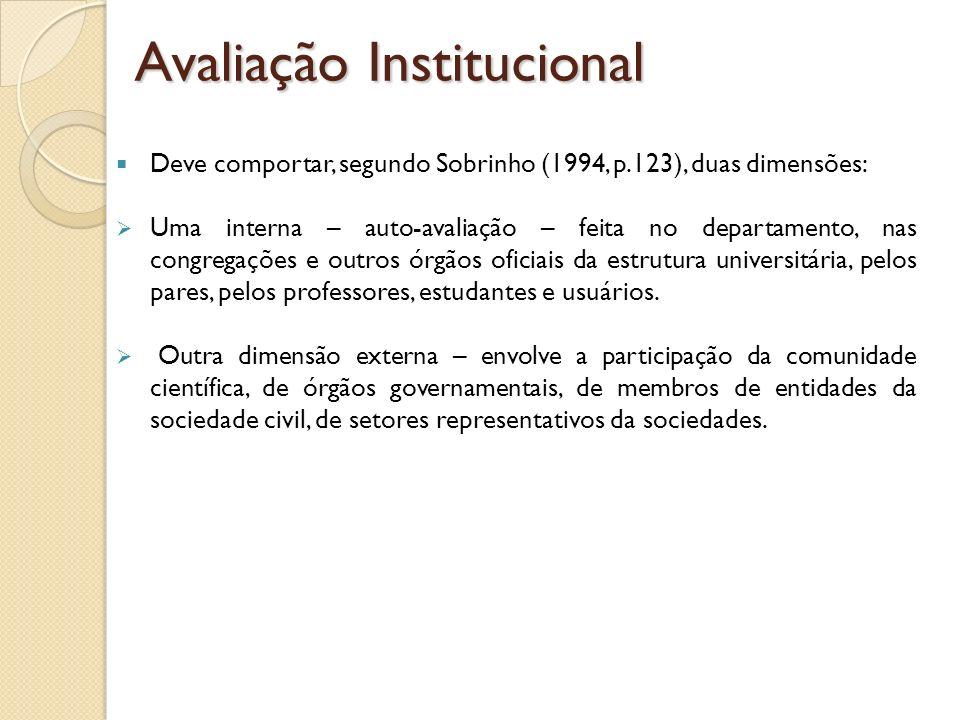 Deve comportar, segundo Sobrinho (1994, p.123), duas dimensões: Uma interna – auto-avaliação – feita no departamento, nas congregações e outros órgãos