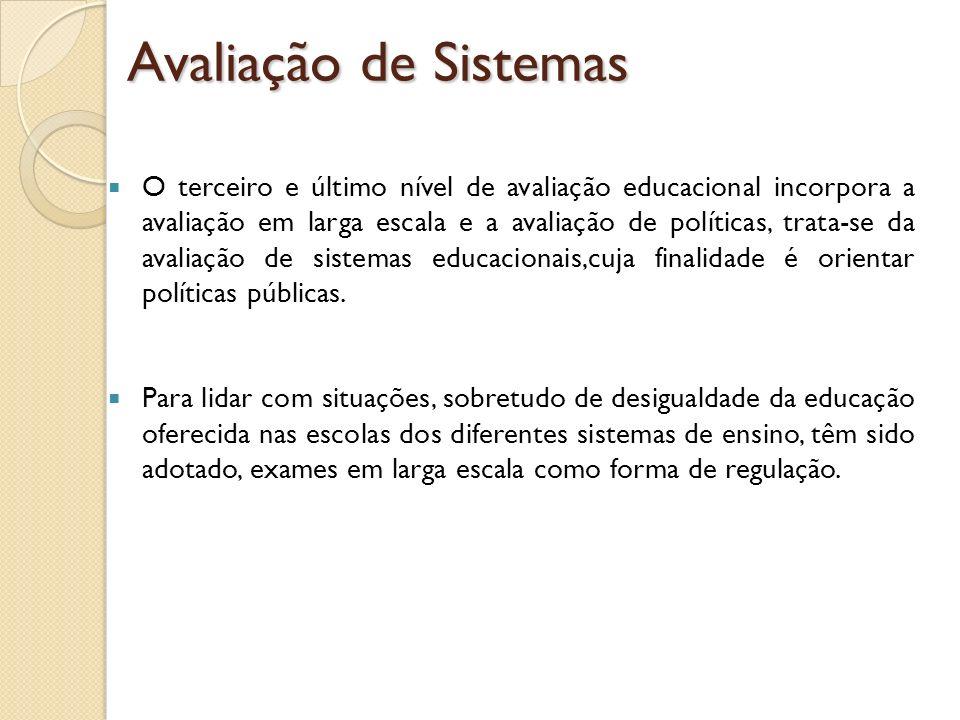 O terceiro e último nível de avaliação educacional incorpora a avaliação em larga escala e a avaliação de políticas, trata-se da avaliação de sistemas