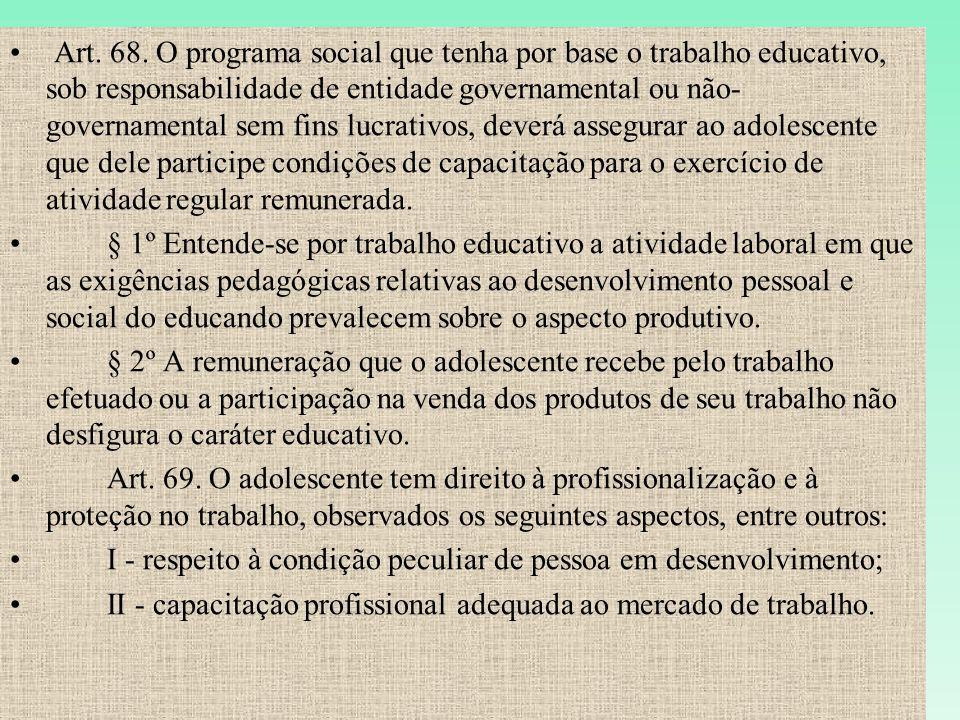 Art. 68. O programa social que tenha por base o trabalho educativo, sob responsabilidade de entidade governamental ou não- governamental sem fins lucr