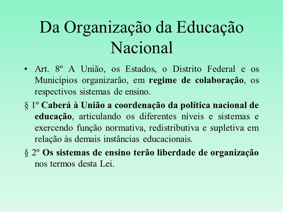 Da Organização da Educação Nacional Art. 8º A União, os Estados, o Distrito Federal e os Municípios organizarão, em regime de colaboração, os respecti