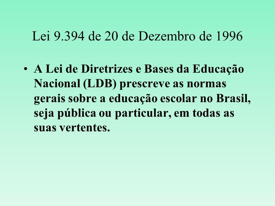 Lei 9.394 de 20 de Dezembro de 1996 A Lei de Diretrizes e Bases da Educação Nacional (LDB) prescreve as normas gerais sobre a educação escolar no Bras